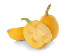 Ripe Spaghetti Squashes On Whi...