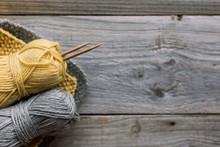 Grey And Yellow Wool Knitting ...