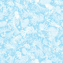 Vector Winter Holiday Blue Frost Pine Branches Seamless Pattern Background. Great For Fabric, Packaging, Giftwrap Projects.