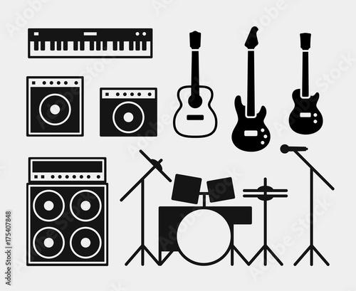 Music rock band instruments set Canvas Print