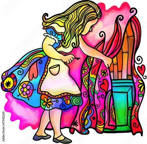 Fényképezés  Digitally created watercolour ink style Alice in Wonderland illustration
