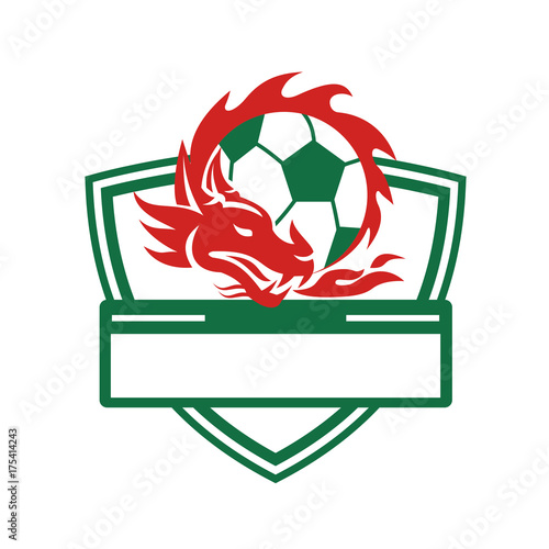 Red Dragon Soccer Ball Crest Poster