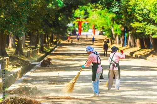 Fotografie, Obraz  屋外を掃除する女性