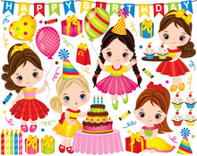 Vector Birthday Set. Set Includes Cute Little Girls With Cake, Balloons, Cupcakes And Gift Boxes