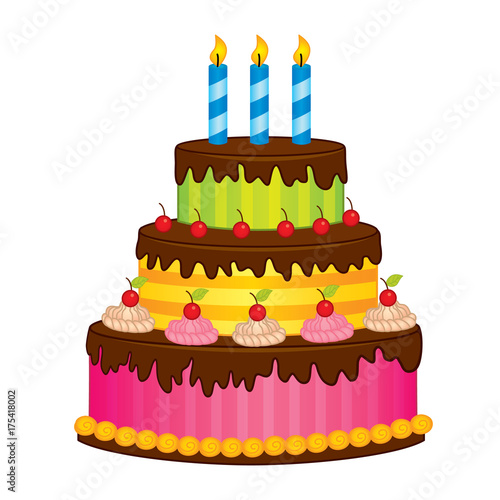 Photo  Vector Birthday Cake with Candles
