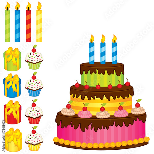Valokuva Vector Birthday Cake, Candles, Cupcakes and Gift Boxes
