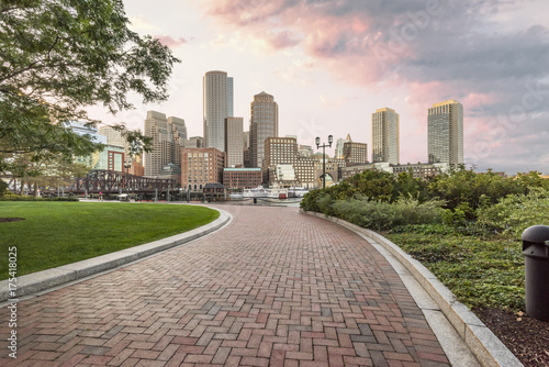 Fotografia, Obraz  Boston Seaport Skyline Sunset