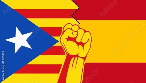 Plakat Ilustracja Catalonia Separacja od Hiszpania. Katalońskie referendum niepodległościowe, 2017 r.
