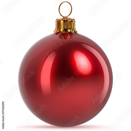 Poster  Christmas ball decoration red closeup Happy New Year's Eve hanging bauble adornment traditional Merry Xmas wintertime ornament polished