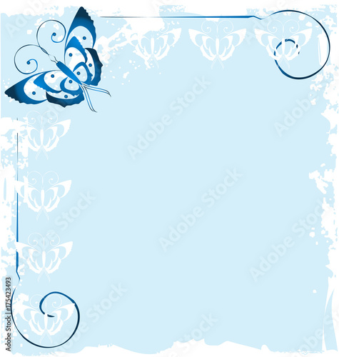 Foto op Aluminium Vlinders in Grunge Frame of blue butterfly icon vector