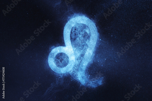 Leo Zodiac Sign. Abstract night sky background
