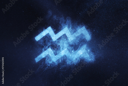 Photo Aquarius Zodiac Sign. Abstract night sky background