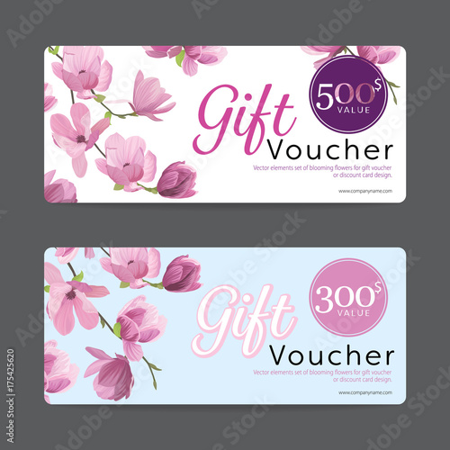 Gift Voucher Card Template Value 500 And 300 With Elements Set Of