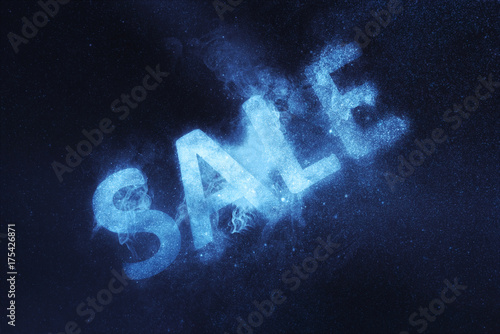 Garden Poster Shipwreck Space glitter text Sale. Abstract night sky background