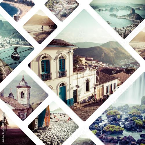 La pose en embrasure Amérique du Sud Collage of Brazil images - travel background