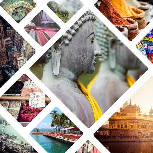 Photo  Collage of India images - travel background