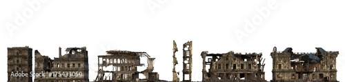 Cuadros en Lienzo  Ruined Buildings Isolated On White 3D Illustration