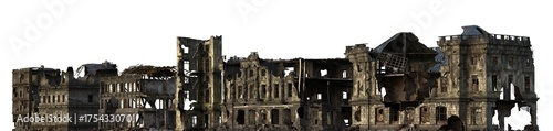 Fotografia Ruined Buildings Isolated On White 3D Illustration