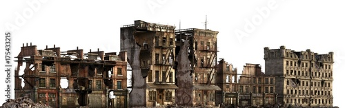 Ruined Buildings Isolated On White 3D Illustration Canvas Print