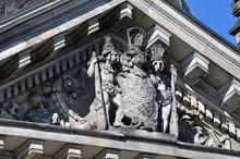 Szczecin -  Pałac Ziemstwa Pomorskiego,  Dziewięciopolowy Herb Księstwa Pomorskiego.