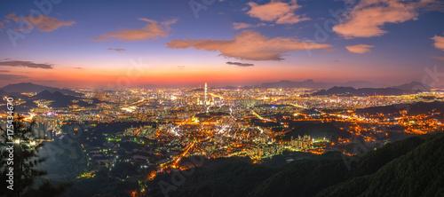 Obraz na dibondzie (fotoboard) Korea, Seul gród w nocy, najlepszy widok z Korei Południowej