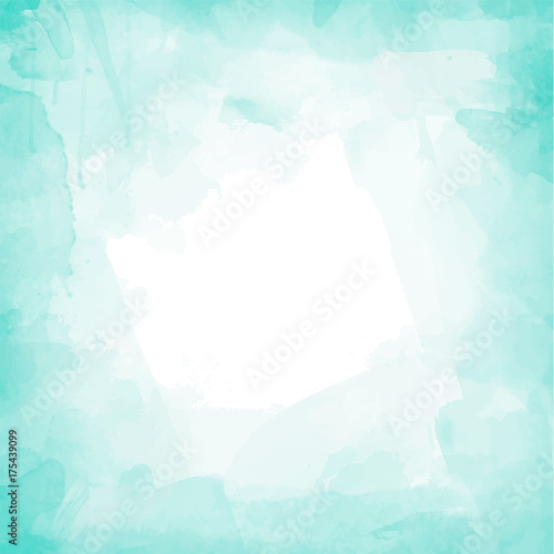 Turquoise watercolor background vector  Wall mural