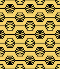 Fototapeta Wzory geometryczne Abstract geometric background. Hexagonal mesh with embedded cells. Vector seamless illustration. Rhythmic repeating pattern. Modern style for geometric templates.Set