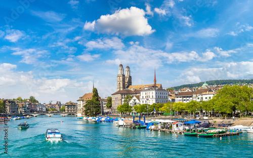 Plakat Historyczna część Zurychu, Szwajcaria