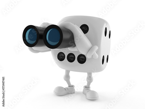 Dice character looking through binoculars плакат
