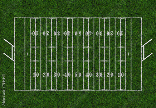 Vászonkép Rugby field with gates. Top view. American football.