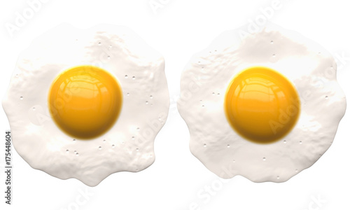 Spoed Foto op Canvas Gebakken Eieren poached eggs isolated on white - 2 separated