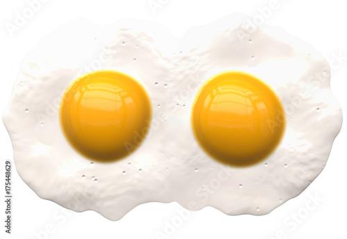 Deurstickers Gebakken Eieren poached eggs isolated on white - 2 coupled