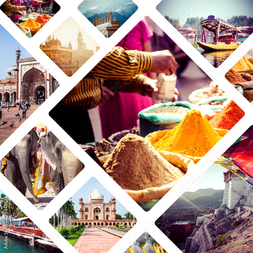 Collage of India and Sri Lanka images - travel background Poster