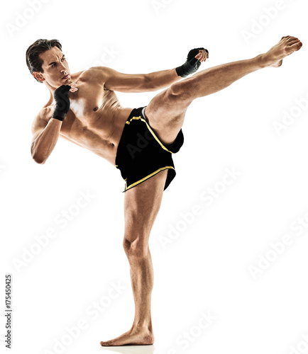 фотографія one caucasian Muay Thai kickboxing kickboxer thai boxing man isolated on white b