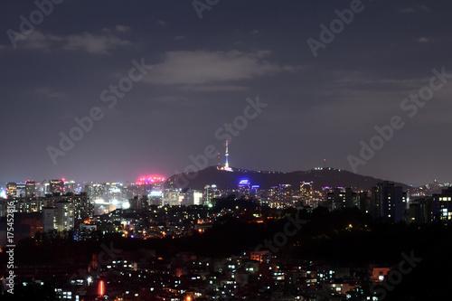 Obraz na dibondzie (fotoboard) Korea, Namsan Tower i nocny widok Seulu