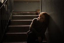 Woman In  Sweater At The Steps, Dark Style