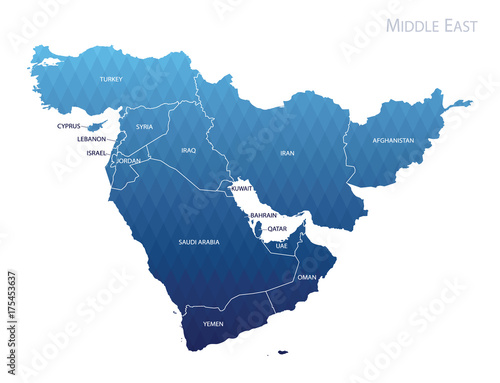 Map of Middle east Tablou Canvas