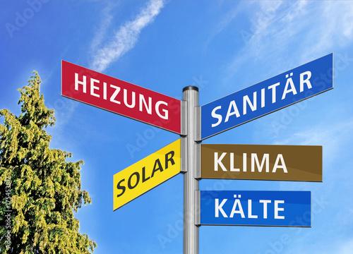 Fotografia  Wegweiser Sanitär, Heizung, Solar, Klima, Kälte