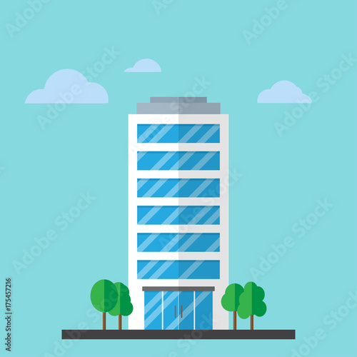 Company building in flat style Fotomurales