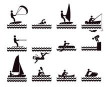 Wassersport Icons Illustration