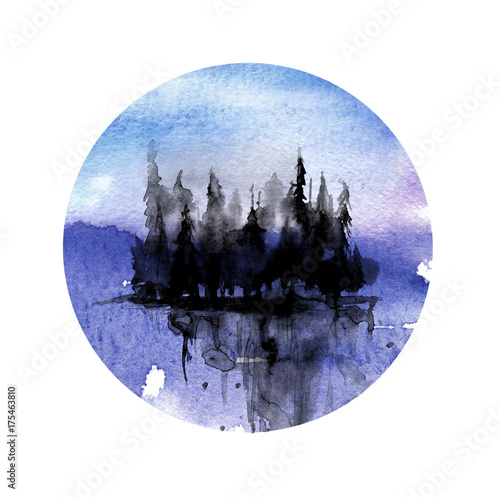 Cadres-photo bureau Aquarelle la Nature Watercolor landscape, silhouette of coniferous forest. The shore line, trees, pine, cedar, spruce, reflection in the water. Against a background of purple, blue sky. Round watercolor greeting card.
