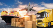 Leinwandbild Motiv LKW, Flugzeug und Schiff für den Transport von Waren