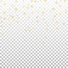 Christmas Winter White Transparent Background With Christmas Golden Falling Snowflakes. Gold Shine Elegant Snowfall Christmas Background. Happy New Year Design For Holiday Vector Illustration