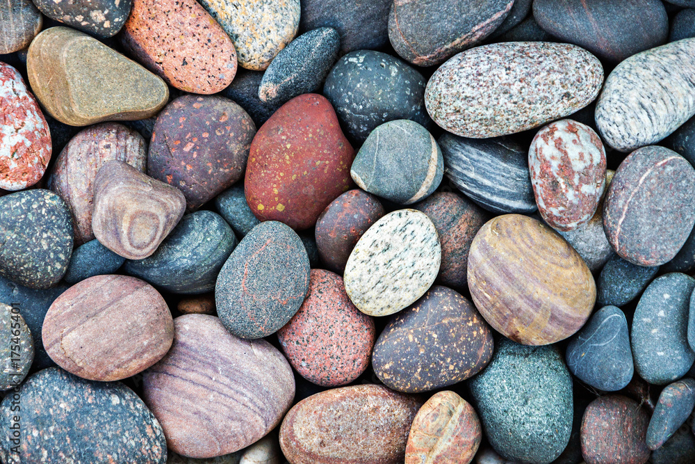 Fototapety, obrazy: Abstract nature background with colorful pebble stones