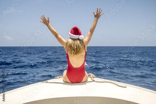 Woman Enjoying Christmas In Caribbean