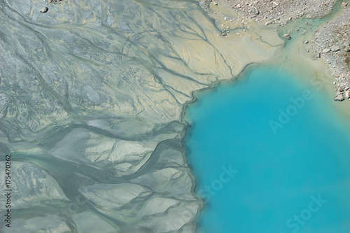 Printed kitchen splashbacks Glaciers Top view Colorful and beautiful Blue lake in the middle of a mountain valley in Italy background.