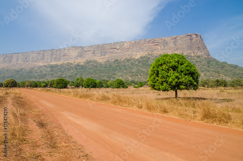 Pinturas sobre lienzo  Red dirt and gravel road, single trees and large flat topped mountain in Fouta D