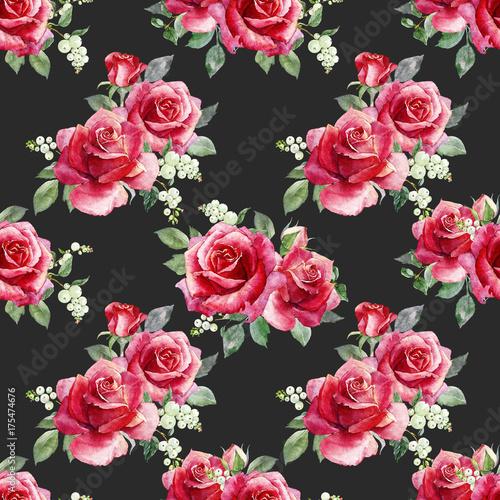 czerwone-kwiaty-z-zielonymi-listkami-na-czarnym-tle-wzor