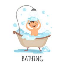Small Child Take A Bath Isolat...