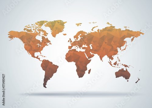 Plakaty kula ziemska   world-map-polygonal-style-background-print-ready-design